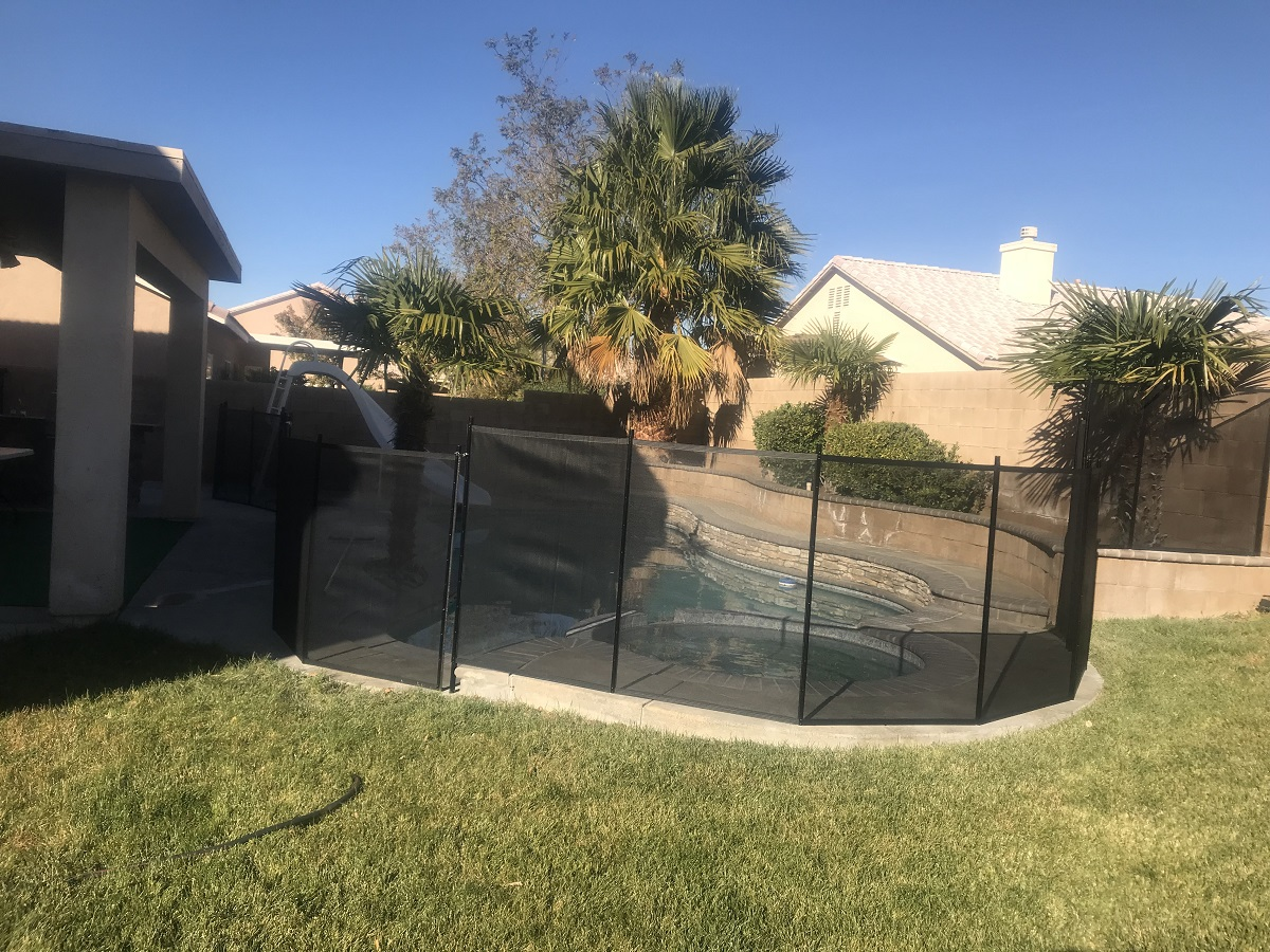 black pool fence installed in Lancaster, CA home