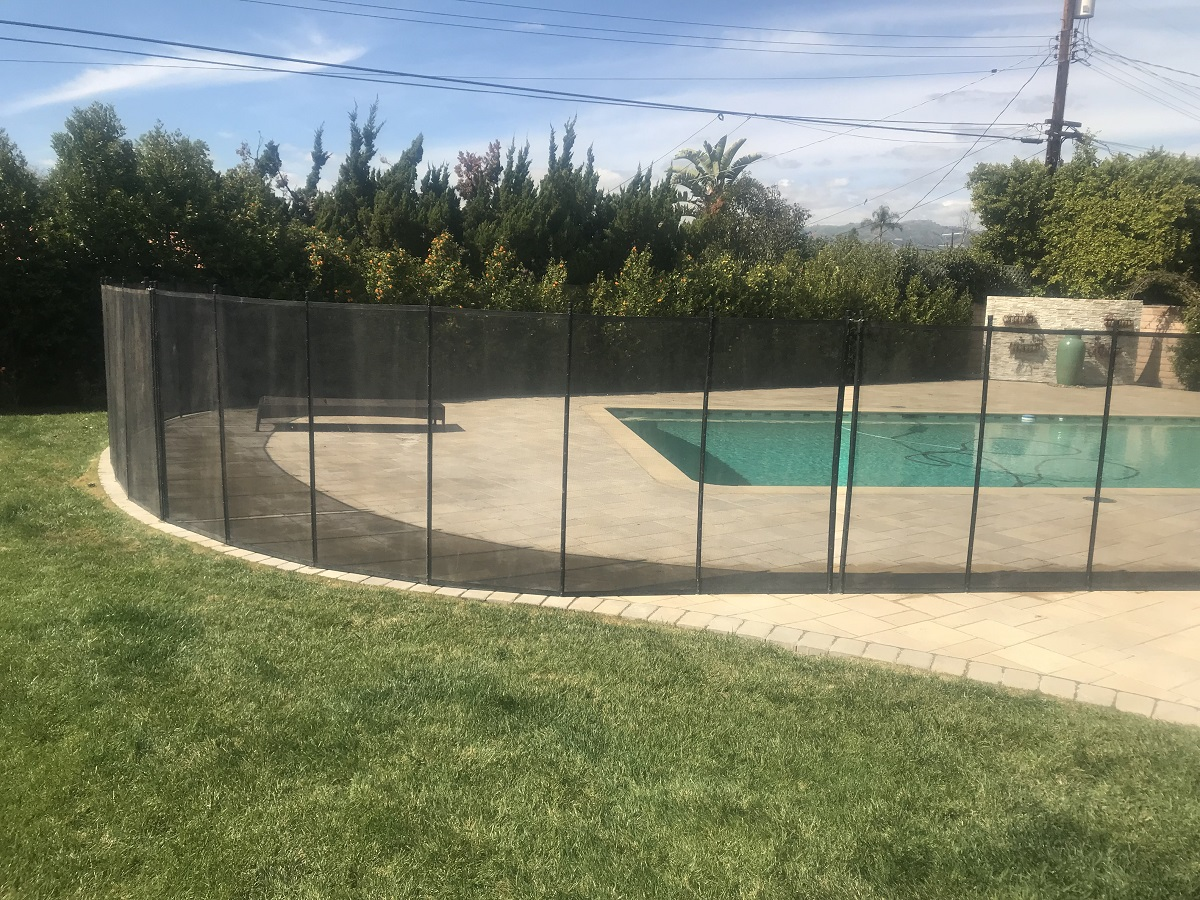 black pool fencing installed in El Granada home