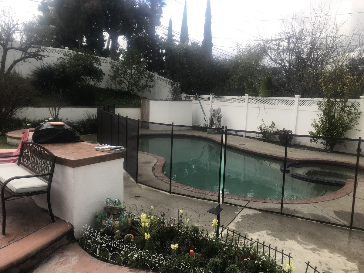 black swimming pool fence installed in Granada Hills, CA
