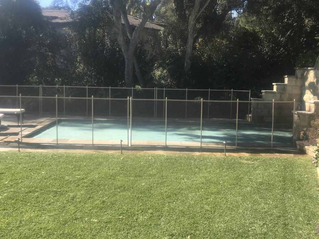 93 Feet of Brown Mesh Pool Fence in Montecito, CA