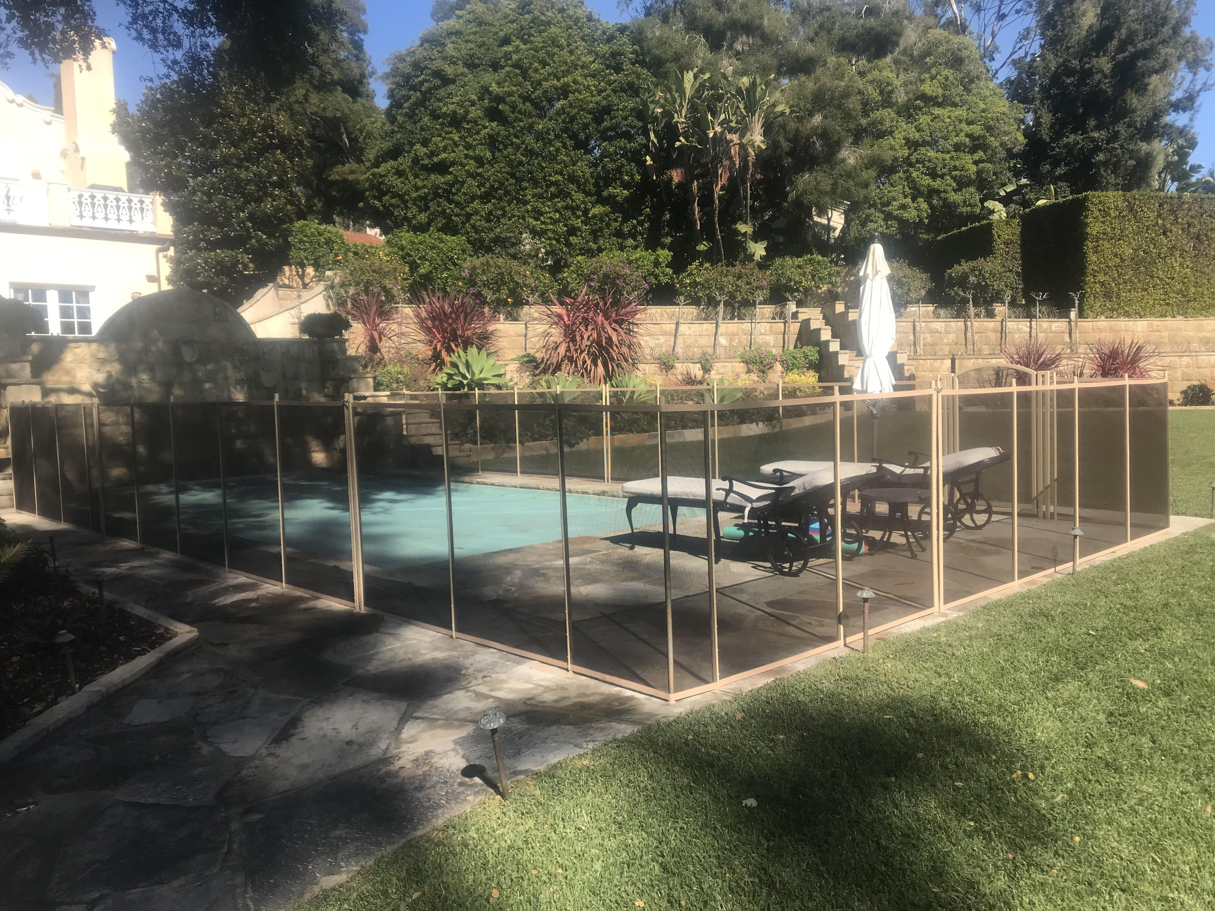 93 Feet of Brown Mesh Pool Fence in Montecito