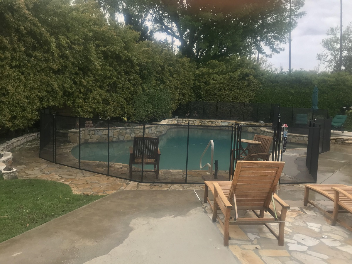 black mesh pool fencing installed in Woodland Hills, CA