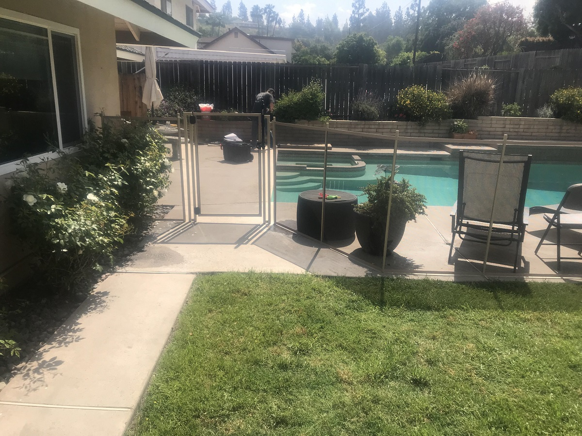 installed tan pool fence in Ann Hacienda Heights, CA