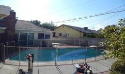 pool fence in tan