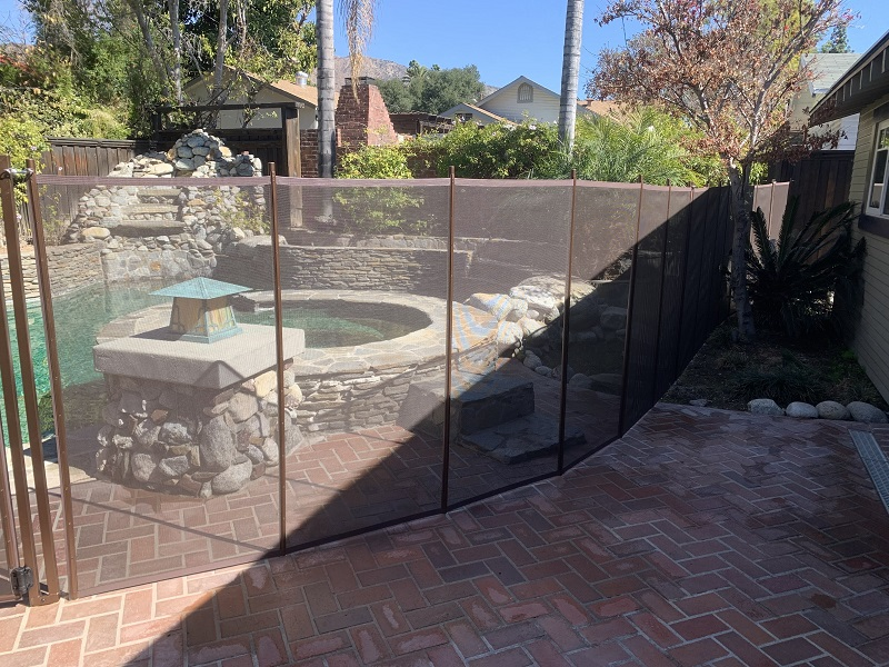 brown life saver pool fence installed in Monrovia, CA