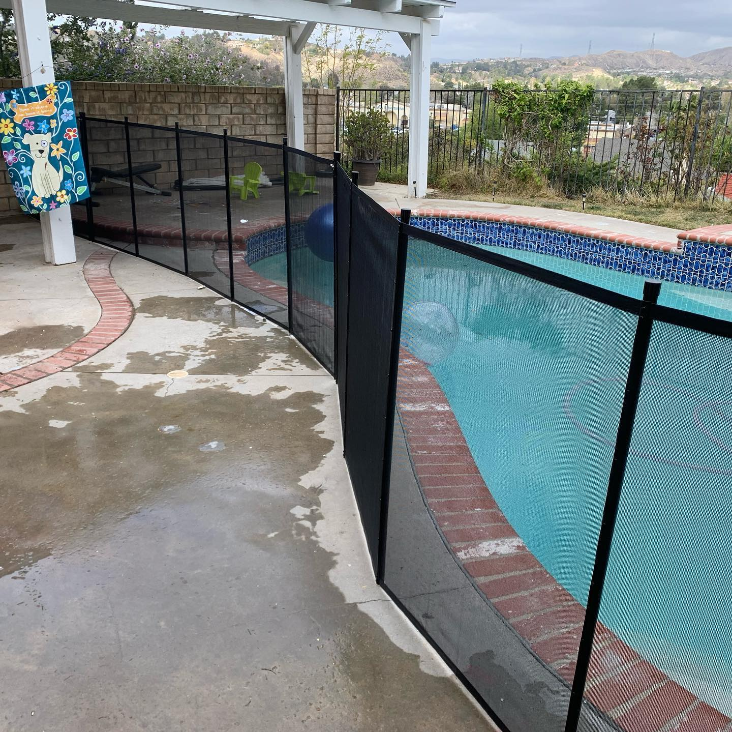 mesh pool fence installed in Santa Clarita, CA