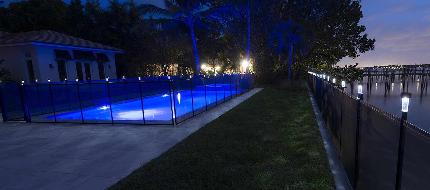 pool fence solar lights